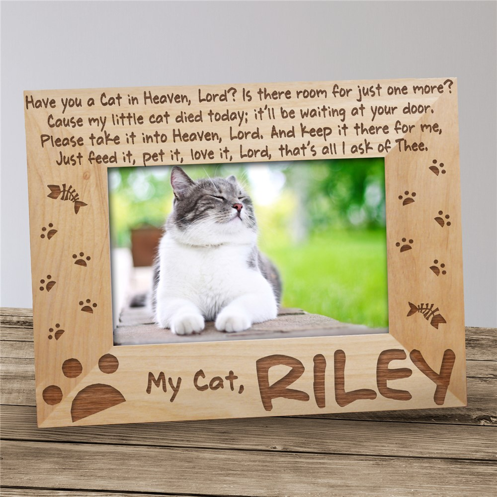 Have You a Cat in Heaven Wood Picture Frame | Personalized Wood Picture Frames