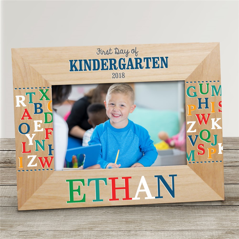 Personalized Alphabet Wooden Frame | First Day of Kindergarten Personalized Frame
