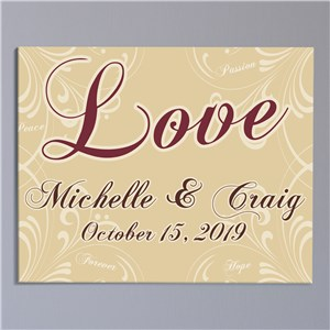 Personalized Love Wall Canvas | Personalized Valentines Canvas Prints