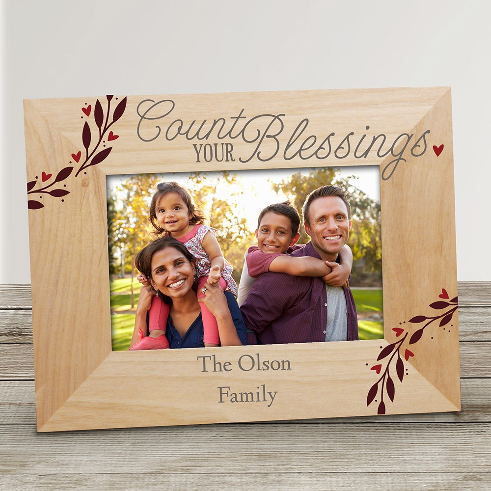 Personalized Count Your Blessings Wooden Picture Frame | Personalized Picture Frames