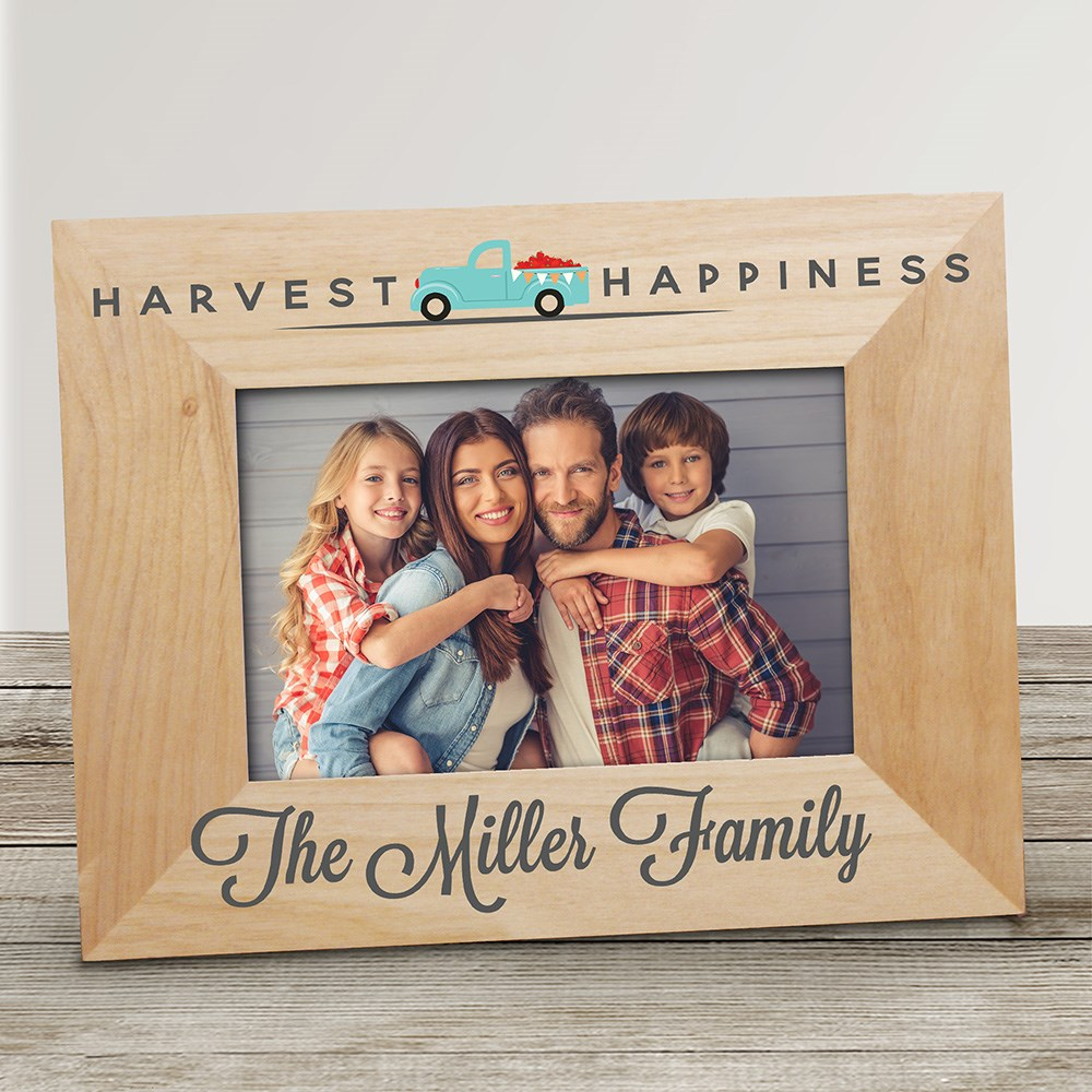 Personalized Harvest Happiness Wood Picture Frame | Personalized Picture Frame