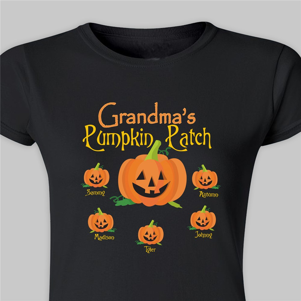 Personalized Pumpkin Patch Ladies Fitted T-Shirt | Personalized Halloween Shirts