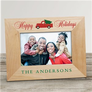 Red Christmas Truck Merry Christmas Or Happy Holidays Wood Picture Frame | Personalized Picture Frames