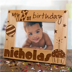 Baby Boy's 1st Birthday Wood Picture Frame | Personalized Wood Picture Frames