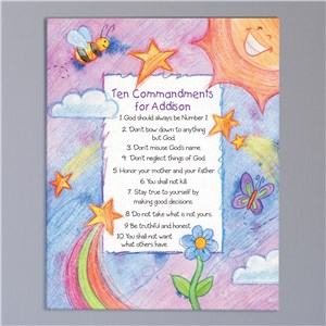 Custom Kids' Ten Commandments Canvas | Personalized Baptism Gifts