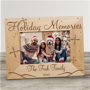 Holiday Memories Personalized Wood Picture Frame | Personalized Christmas Picture Frames