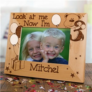 Children's Custom Birthday Frame - Look at me! | Personalized Wood Picture Frames
