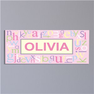 Personalized Pink Alphabet Name Wall Canvas | Personalized Art For Kids Room