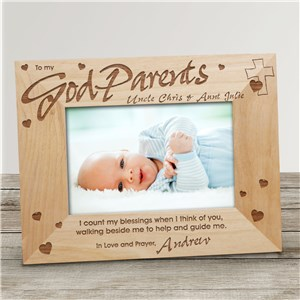 Godparent Wood Personalized Picture Frame | Customized Picture Frames