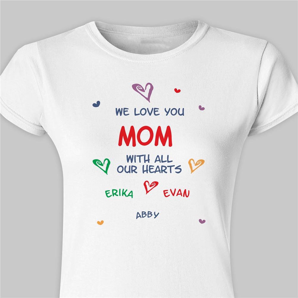 All Our Hearts Personalized Ladies' Fitted T-Shirt 91632X