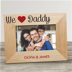 Personalized We Heart with Names Wood Frame