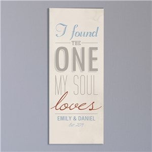 Personalized Found The One My Soul Loves Wall Canvas | Personalized Valentines Canvas Prints