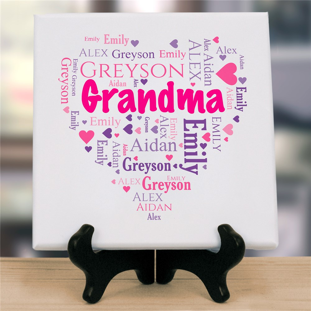 Grandma's Heart Word-Art Canvas | Personalized Gifts for Grandma