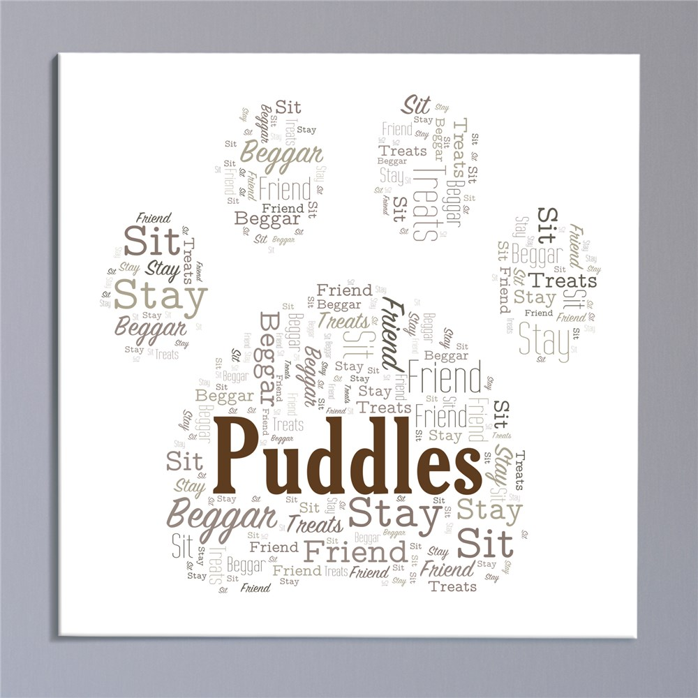Personalized Paw Print Wall Canvas | Personalized Word Art