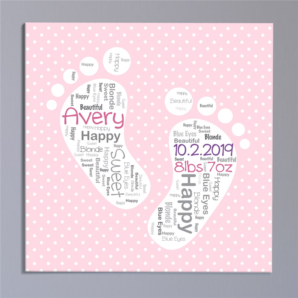 Baby Girl Word-Art Canvas | Personalized Canvas Wall Art
