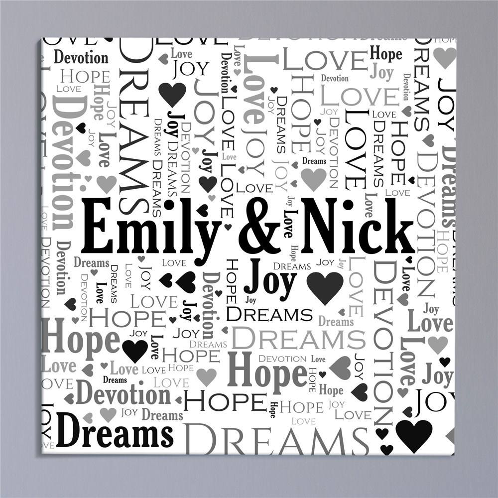 Together Word-Art Canvas | Personalized Valentine's Day Gifts