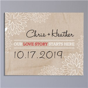 Our Love Story Starts Here Wall Canvas | Personalized Couple Gifts