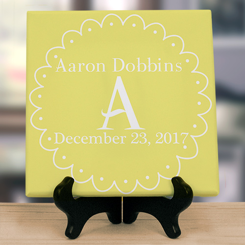 Personalized Baby Initial Wall Canvas | Personalized Name Art