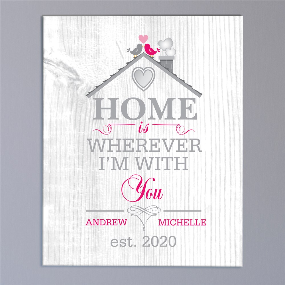 Personalized Home is Wherever I'm With You Canvas | Personalized Housewarming Gifts
