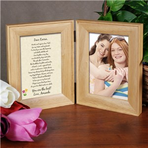 To My Sister... Natural Wood Bi-Fold Personalized Picture Frame | Personalized Picture Frames