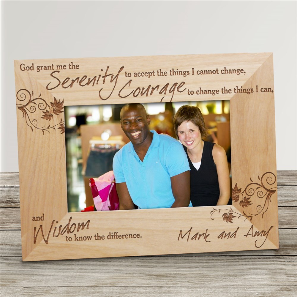 Serenity Prayer Engraved Frame Picture | Personalized Wood Picture Frames