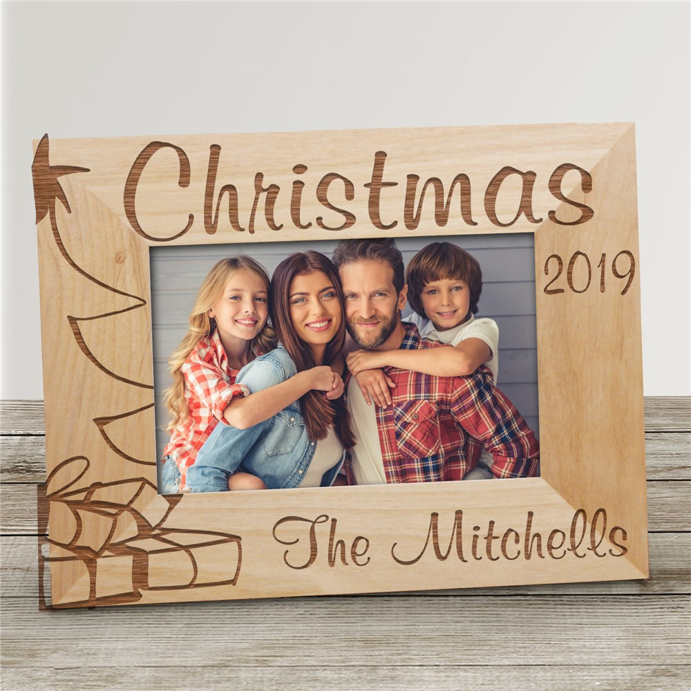 Christmas Tree Personalized Wood Picture Frame | Personalized Wood Picture Frames