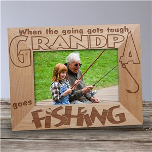 Go Fishing Wood Picture Frame | Personalized Grandpa Gifts