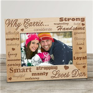 Why I Love You Wood Picture Frame | Personalized Couple's Wood Frame