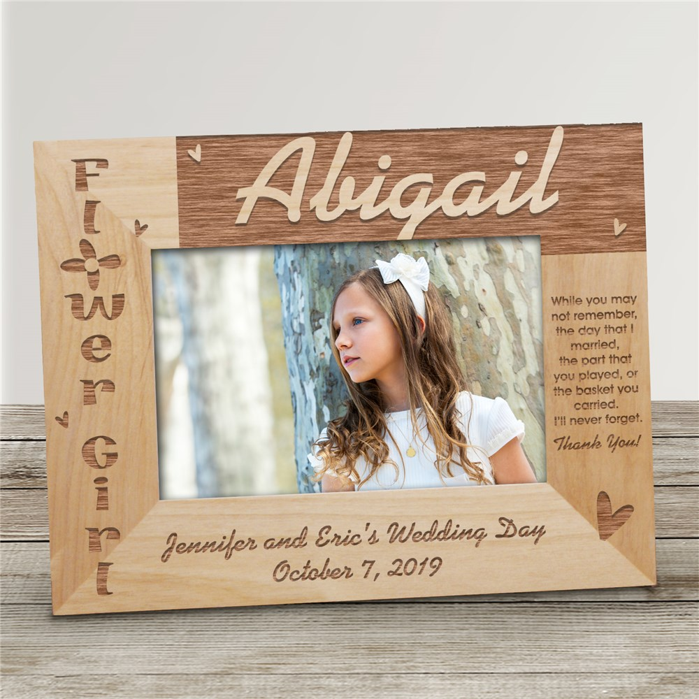 Flower Girl Wood Picture Frame | Personalized Picture Frames