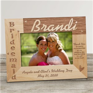Bridesmaid Wood Picture Frame | Personalized Wood Picture Frames