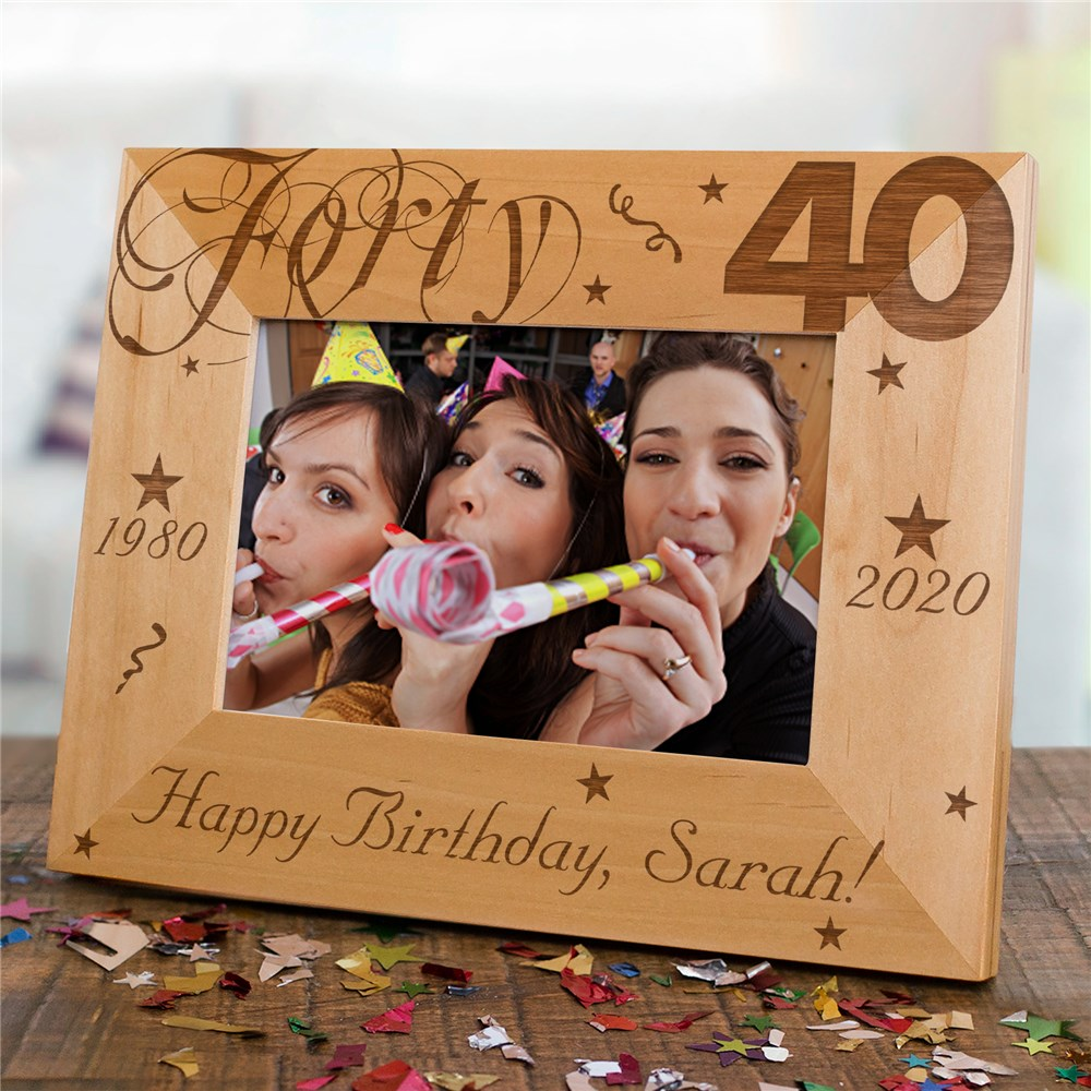 Happy Birthday Picture Frame - 40th | Personalized Wood Picture Frames