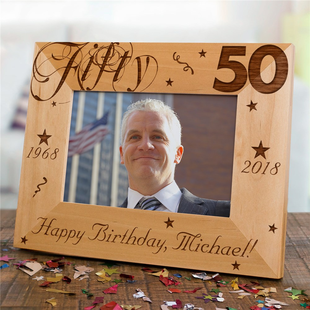 Personalized 50th Birthday Picture Frame | Personalized Wood Picture Frames