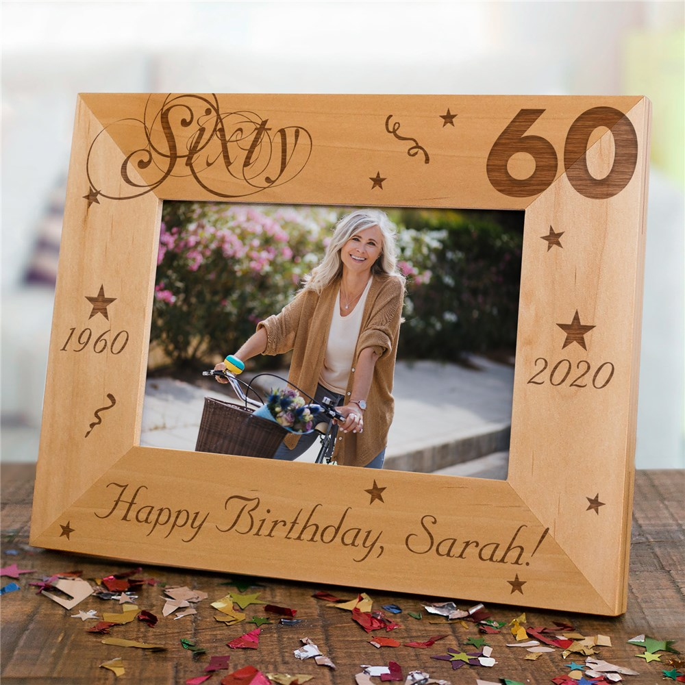 60th Birthday Picture Frame | Personalized Wood Picture Frames