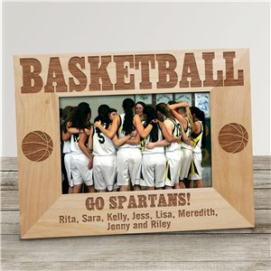Engraved Basketball Wood Picture Frame | Personalized Wood Picture Frames