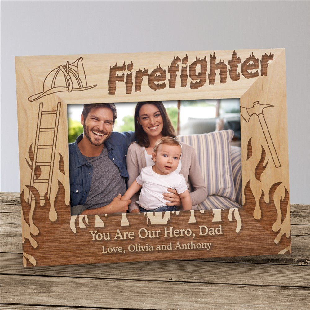 Personalized Firefighter Wood Picture Frame | Personalized Picture Frames