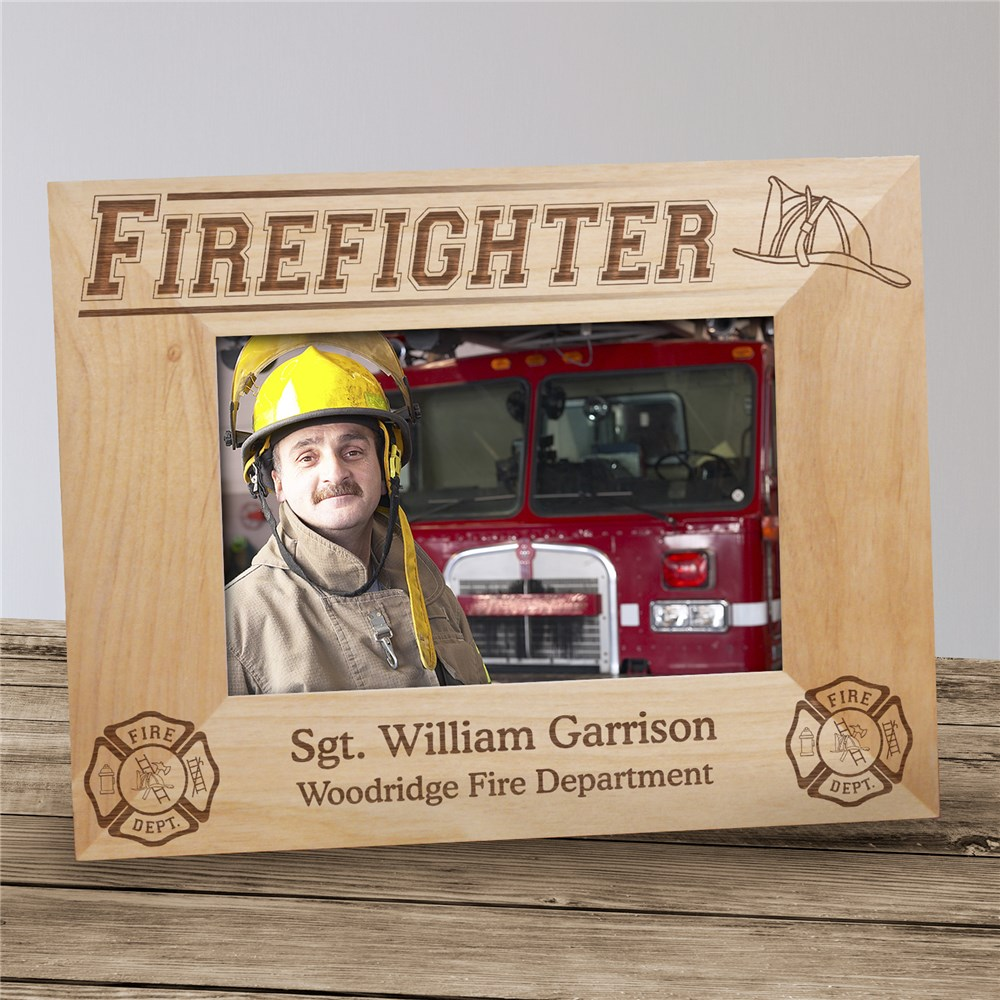 Personalized Firefighter Wood Picture Frame | Personalized Wood Picture Frames