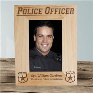 Personalized Police Officer Wood Picture Frame | Personalized Wood Picture Frames