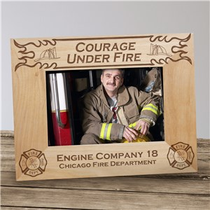 Personalized Fire Department Wood Picture Frame | Personalized Wood Picture Frames