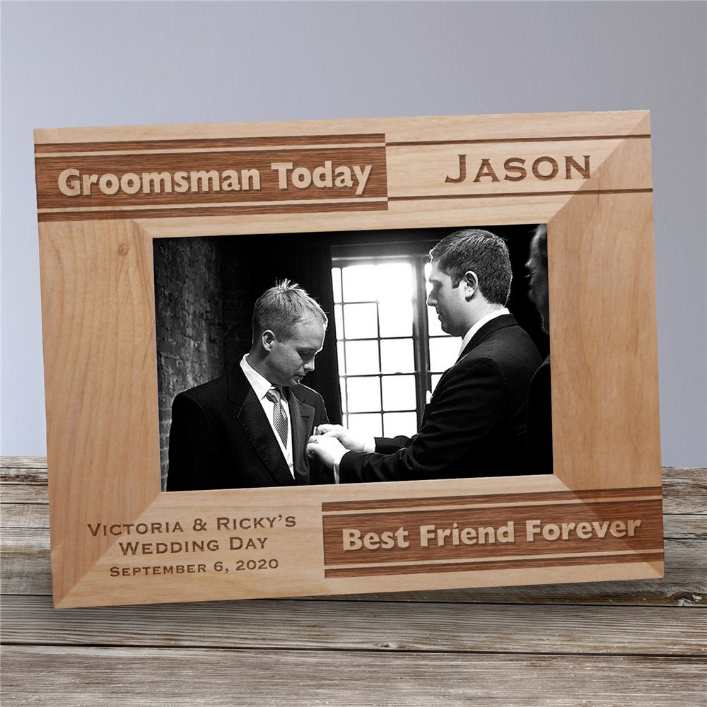 Personalized Wooden Picture Frames | Engraved Groomsmen Gifts