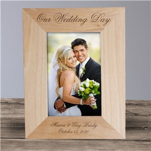 Personalized Wedding Day Wood Picture Frame | Personalized Wood Picture Frames