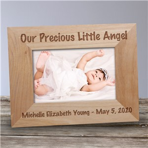 Personalized Little Angel Wood Picture Frame | Personalized Baby Picture Frames