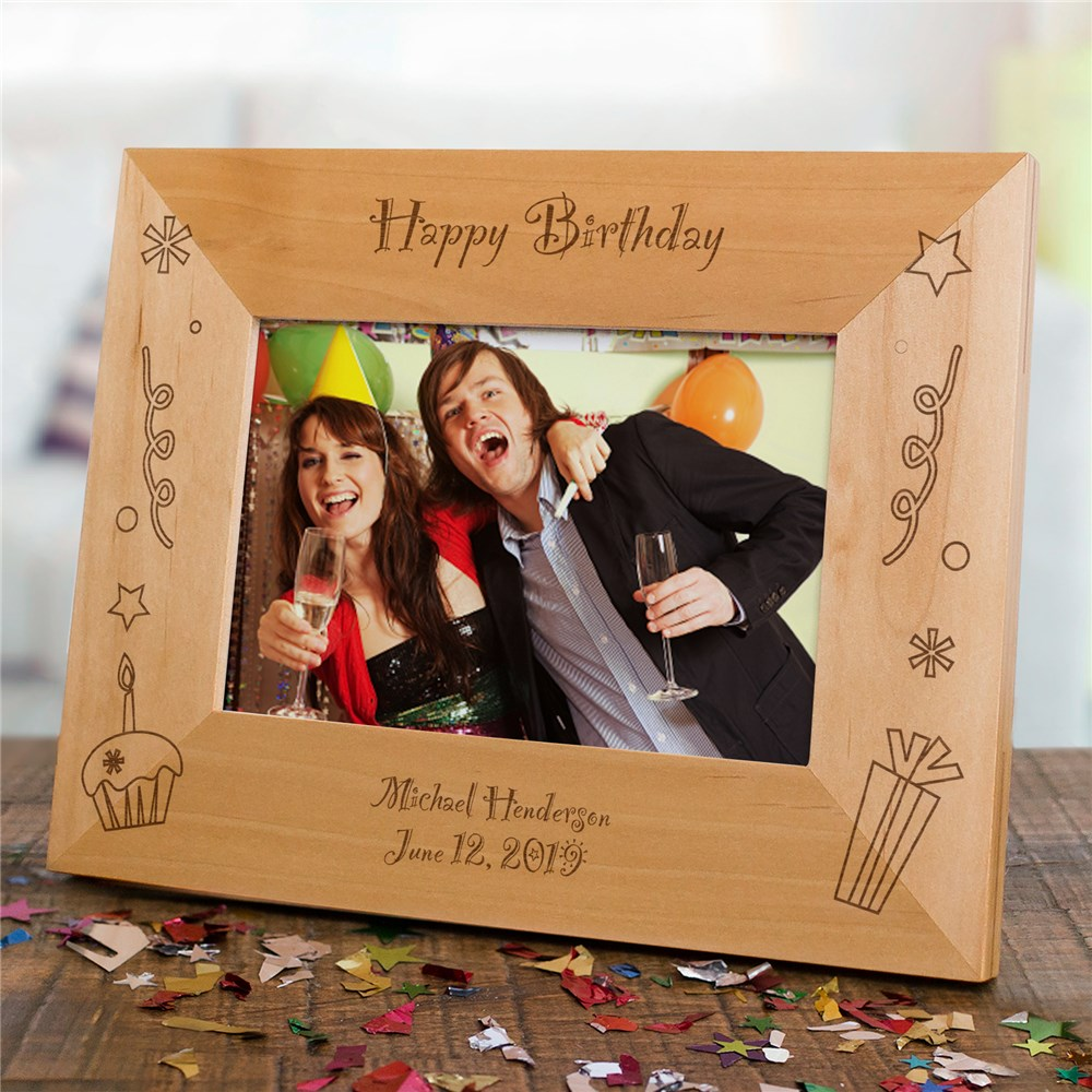 Engraved Happy Birthday Wood Picture Frame | Personalized Wood Picture Frames