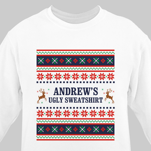 Personalized Ugly Sweater Adult Sweatshirt | Personalized Ugly Christmas Shirts