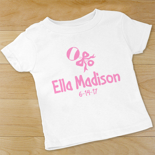 New Baby Girl Rattle and Bow Personalized Infant Bodysuit | Personalized Baby Girl Gifts