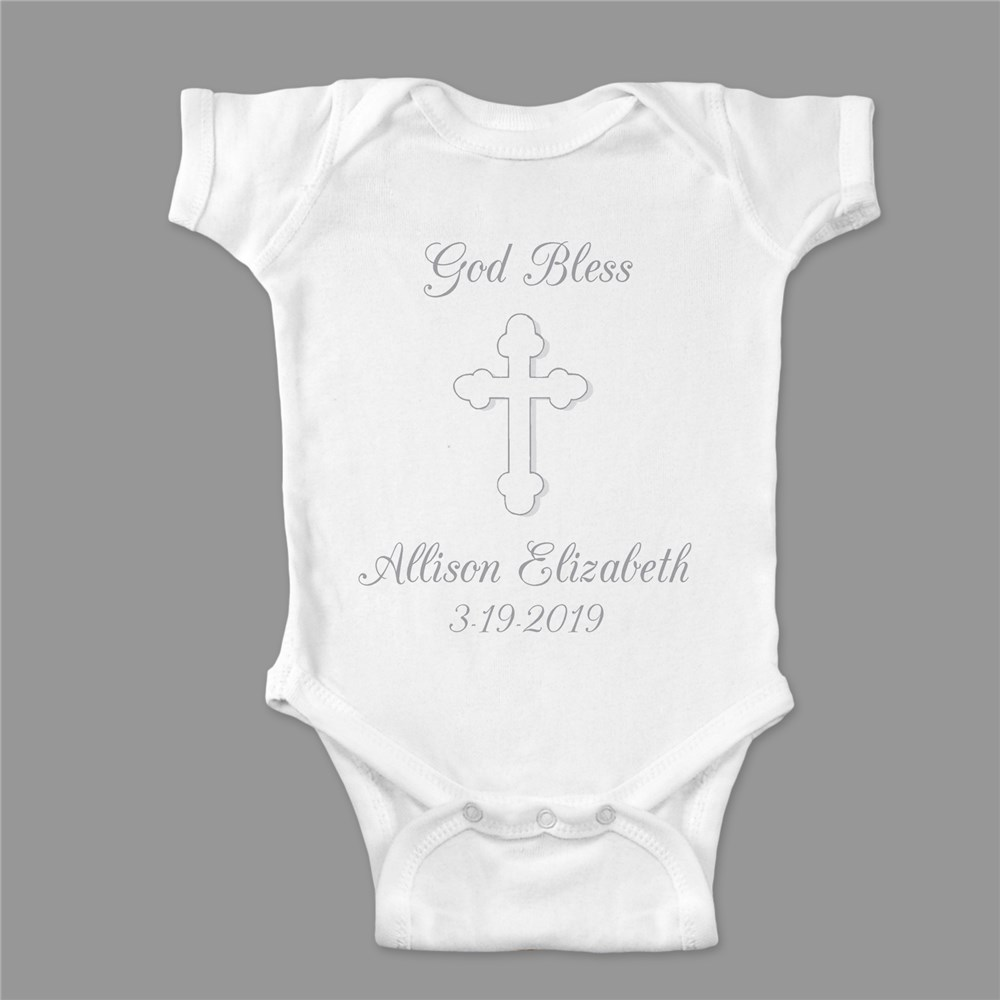 God Bless... Personalized Christening Infant Bodysuit | Personalized Christening Outfits