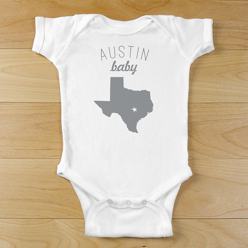 Personalized City Infant Bodysuit with State Shape