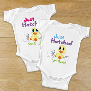 Personalized New Baby Easter Bodysuit - Just Hatched | Personalized Easter Gifts For Babies