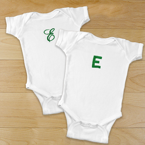 Name or Initial Embroidered Infant Bodysuit | Personalized Baby Gifts