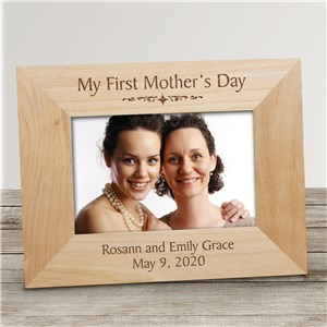 My First Mothers Day Wood Picture Frame | Personalized Gifts for Moms