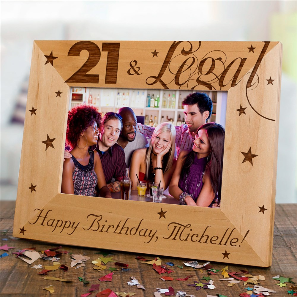 Engraved 21st Birthday Wood Picture Frame | Personalized Wood Picture Frames